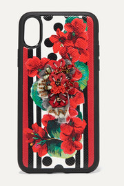 Dolce & Gabbana Embellished textured-leather iPhone X case