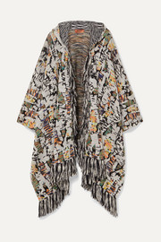 Missoni Fringed crochet-knit wool-blend hooded wrap
