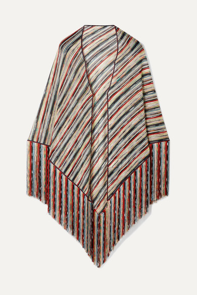 9293bceccd3dd3 Missoni | Fringed metallic crochet-knit wrap | NET-A-PORTER.COM