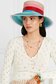 Striped faux straw sunhat