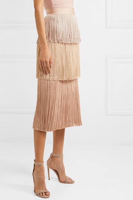Metallic fringed bandage midi skirt