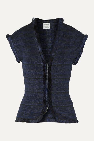 Herve Leger Fringed Jacquard-knit Jacket In Midnight Blue