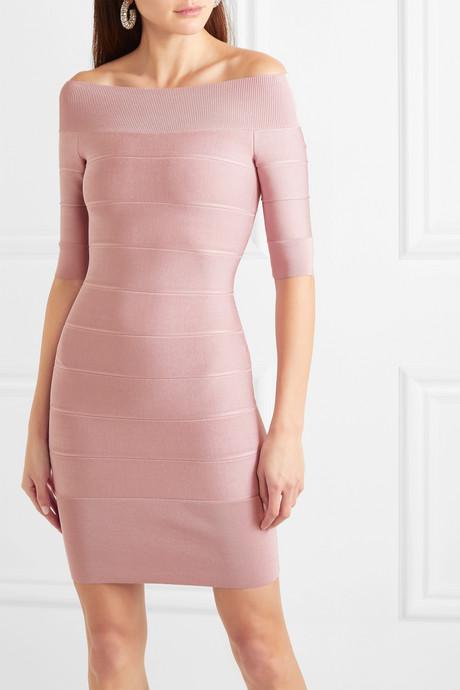 Off-the-shoulder bandage mini dress