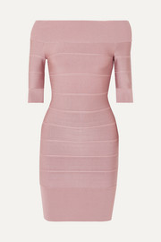 Hervé Léger Off-the-shoulder bandage mini dress