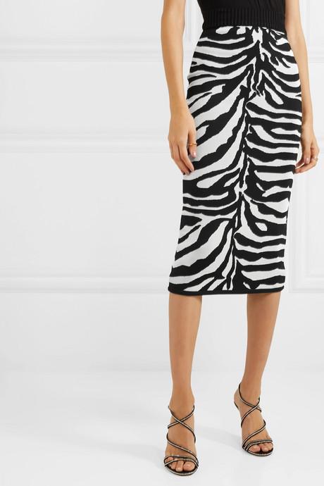 Zebra-intarsia knitted midi skirt