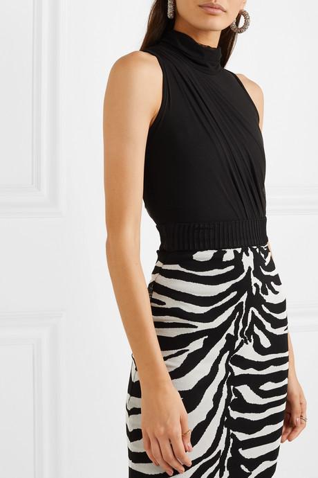 Ruched stretch-mesh thong bodysuit