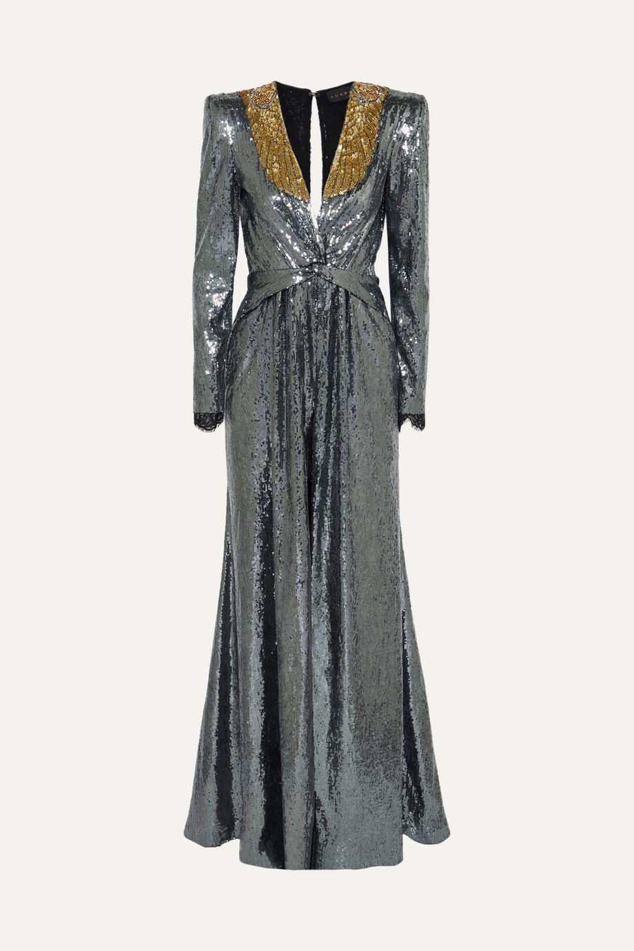 Dundas Embellished sequined crepe de chine gown