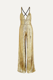 Dundas Crystal-embellished sequined tulle jumpsuit