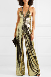 Crystal-embellished sequined tulle jumpsuit