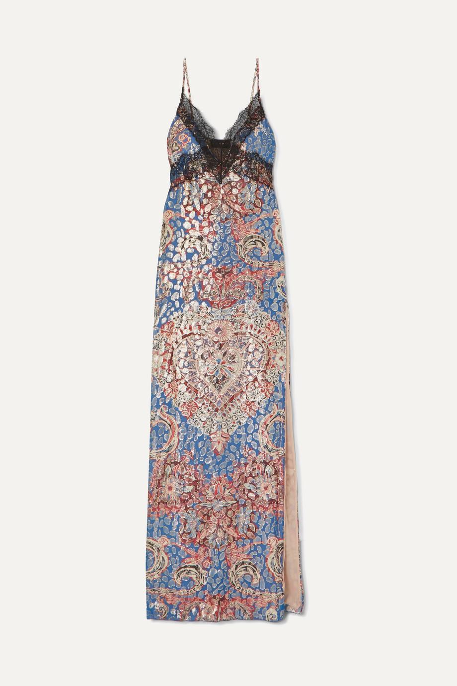 Dundas Lace-trimmed printed metallic fil coupé silk-blend chiffon maxi dress
