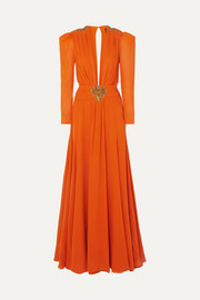 Dundas Embellished pleated silk-crepe de chine gown