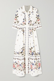 Erdem Kasia belted floral-print cotton-poplin midi dress