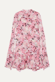 Erdem Constantinea cape-effect tiered floral-print silk-voile dress