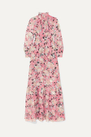 Erdem Clementine gathered floral-print silk-voile gown