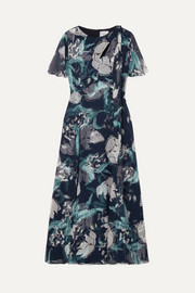 Kirstie floral-print silk-voile midi dress