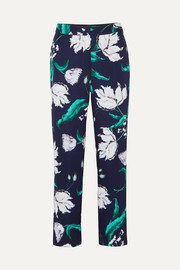 Giana floral-print satin-twill straight-leg pants