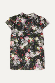 Clarence ruffled floral-print fil coupé chiffon blouse