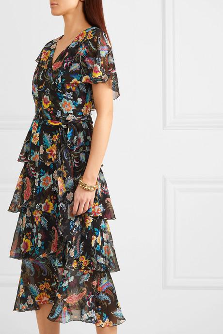 Ruffled floral-print silk-chiffon wrap-effect dress