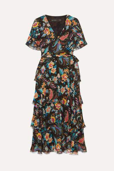 Etro Dress Ruffled floral-print silk-chiffon wrap-effect dress