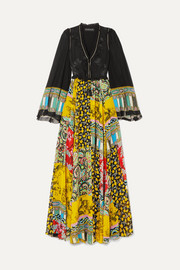 Etro Tassel-trimmed floral-jacquard and printed silk-chiffon maxi dress