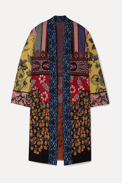 Etro Knitwear Patchwork metallic jacquard-knit cardigan