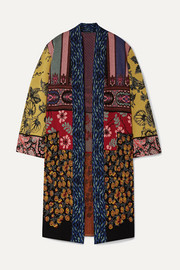 Etro Patchwork metallic jacquard-knit cardigan