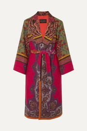 Etro Belted cotton-blend jacquard coat