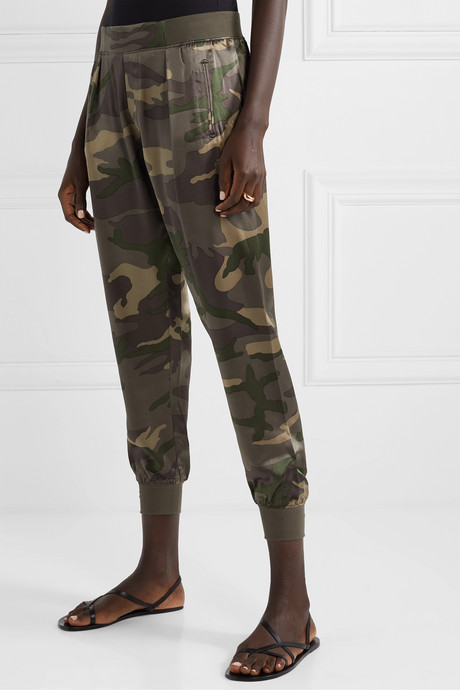 Camouflage-print silk-satin track pants