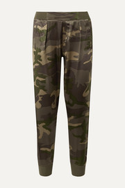 Camouflage-print silk-satin track pants