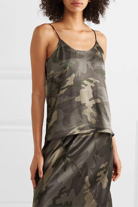 Camouflage-print silk-satin camisole