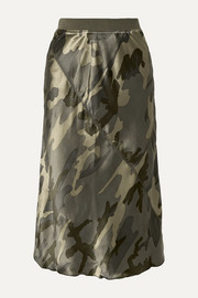 ATM Anthony Thomas Melillo Camouflage-print silk-satin skirt