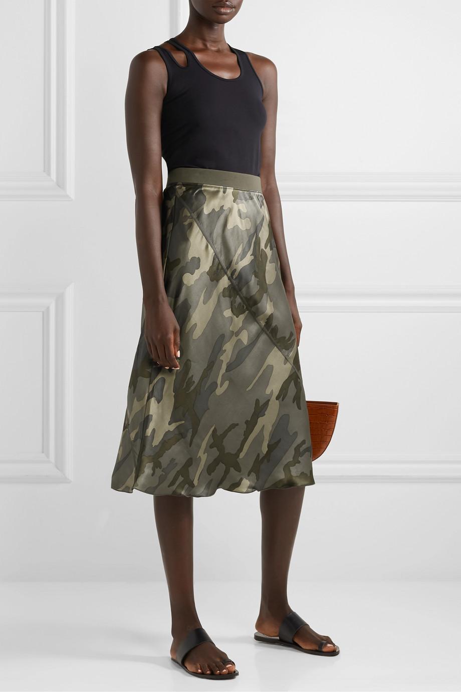 ATM Anthony Thomas Melillo Camouflage-print silk-satin skirt