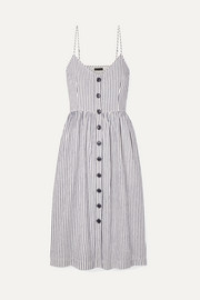 ATM Anthony Thomas Melillo Striped cotton and linen-blend midi dress