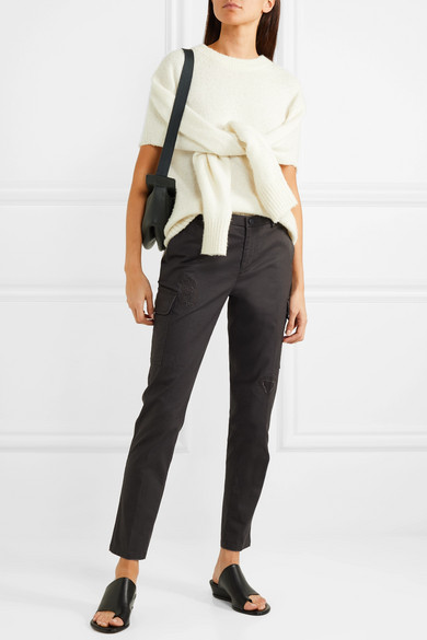 Cropped Distressed Stretch Cotton Slim Leg Pants by Atm Anthony Thomas Melillo