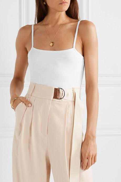 Stretch-Pima cotton jersey thong bodysuit