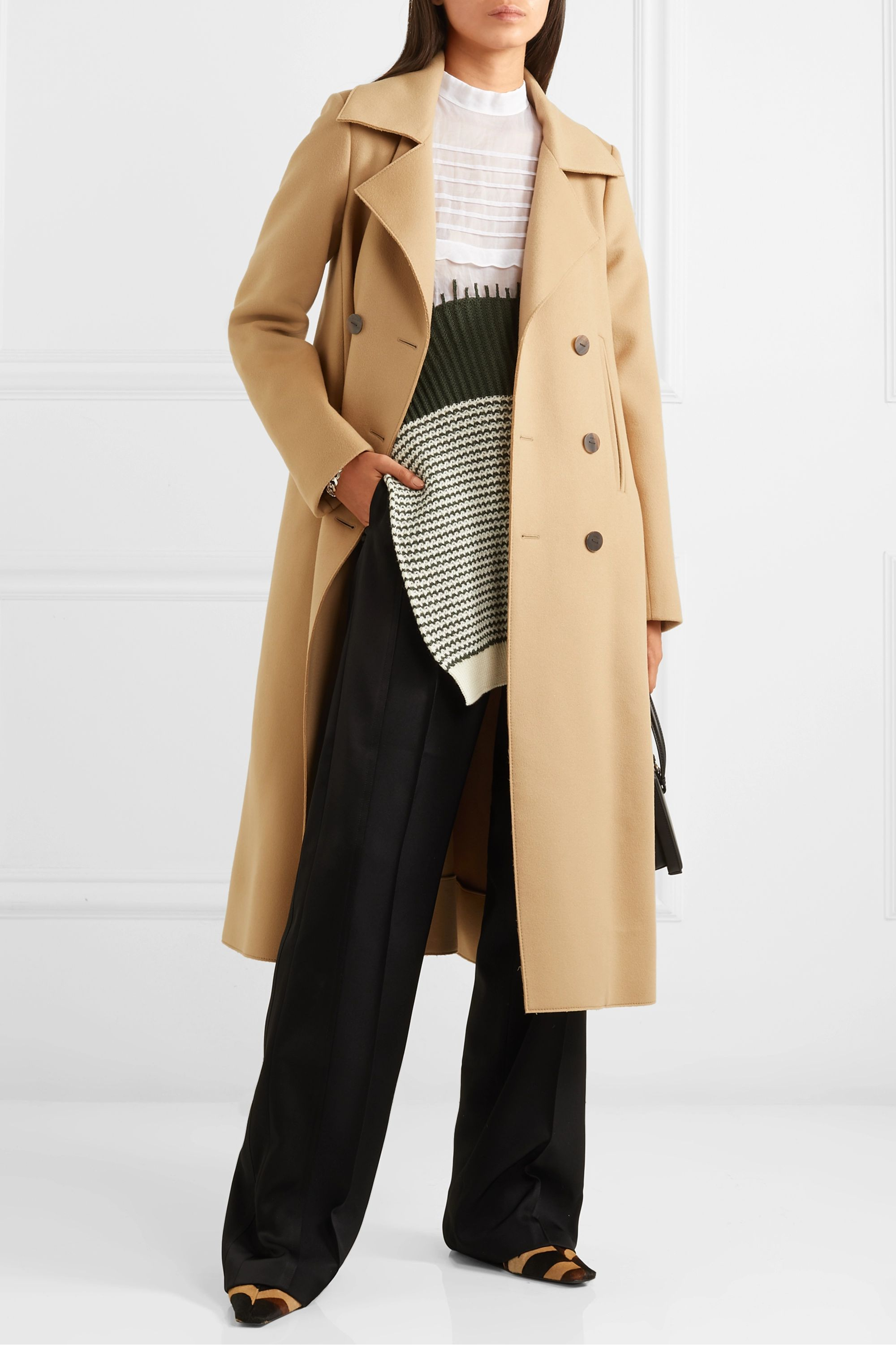 Loewe Double-breasted wool and cashmere-blend coat
