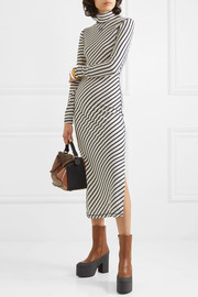 Striped cotton-jersey midi dress