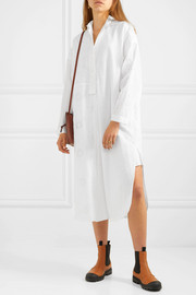 Broderie anglaise cotton and linen midi dress