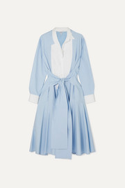 Loewe Tie-front paneled cotton-poplin midi dress