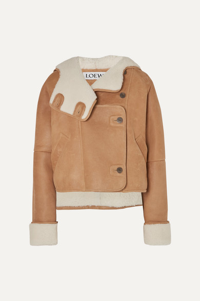 Cropped Shearling Hooded Jacket by Loewe