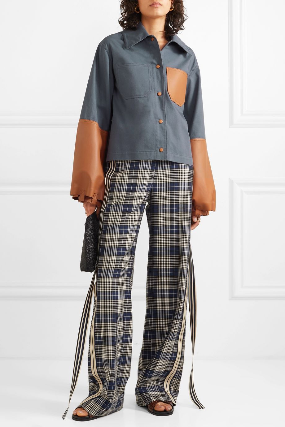 Loewe Cropped cotton-twill and leather jacket