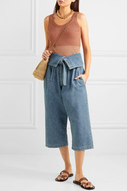 Cropped belted high-rise wide-leg jeans