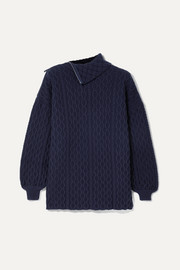 Loewe Zip-detailed cable-knit wool-blend turtleneck sweater