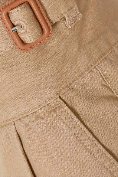 leather-trimmed-herringbone-cotton-straight-leg-pants by loewe
