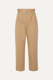 Loewe Leather-trimmed herringbone cotton straight-leg pants