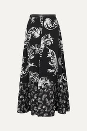 Leather-trimmed printed satin and linen maxi skirt