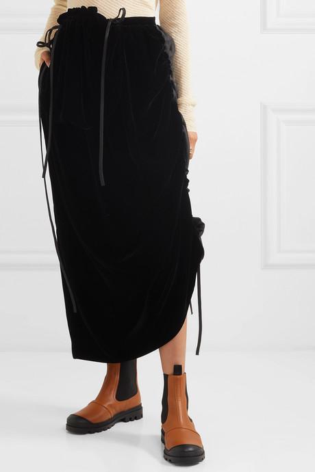 Velvet and linen midi skirt