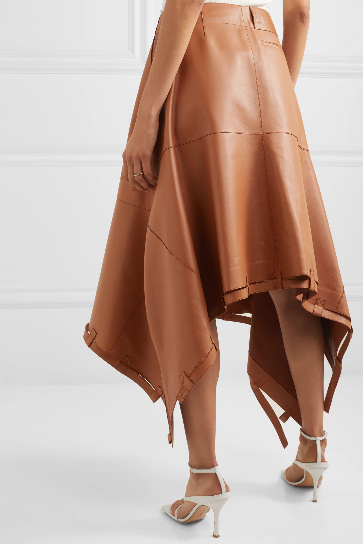 Loewe Asymmetric leather midi skirt