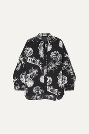 Oversized printed satin blouse