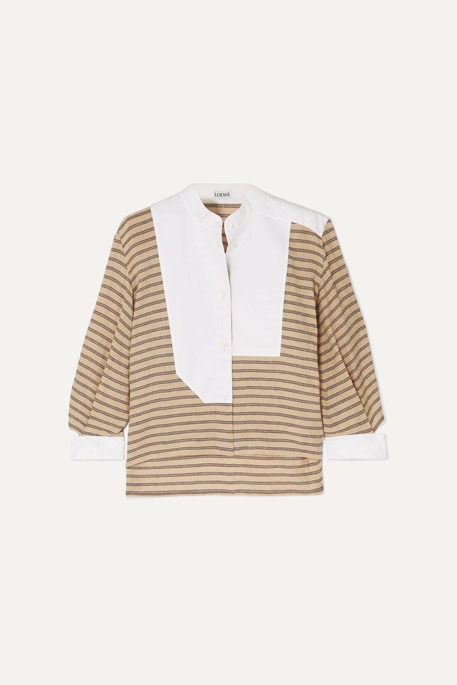 Loewe Cutout poplin-paneled striped cotton-blend shirt